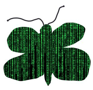 green and black drawing of butterfly, with green digital text